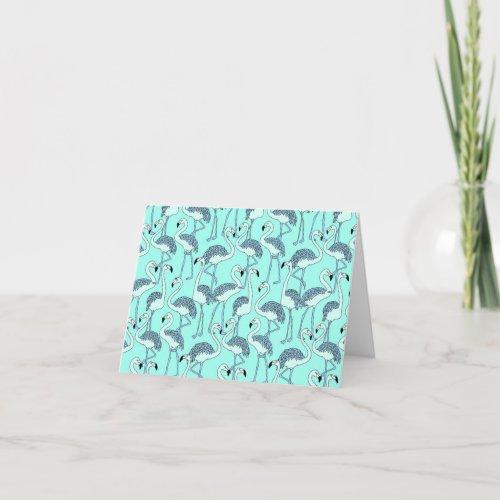 Aqua Blue Flamingo Note Card