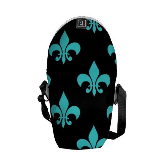 aqua blue fleur de lis pattern courier bag
