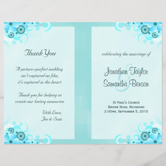 aqua blue floral bifold wedding program templates zazzle com