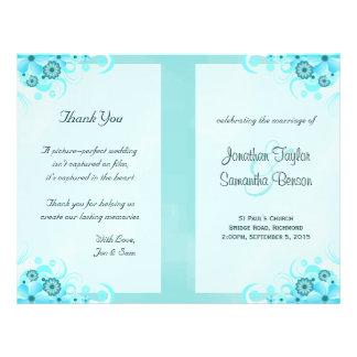 Aqua Blue Floral BiFold Wedding Program Templates
