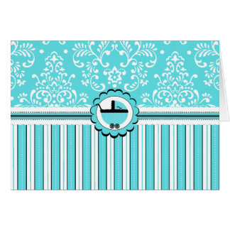 Aqua Blue Floral Damask and Stripes-Baby Carriage Greeting Card