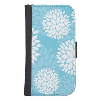 Aqua Blue Floral Pattern Phone Wallets