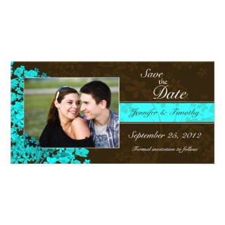 Aqua blue floral save the date wedding photocard card