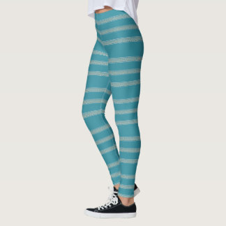 Aqua Blue Floral Stripe Leggings