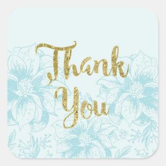 Aqua Blue Flower and Gold Glitter Thank You Square Sticker