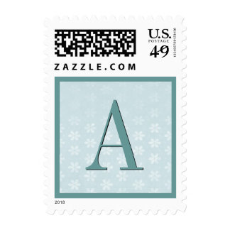 Aqua Blue Flower Damask Monogram Wedding Stamp