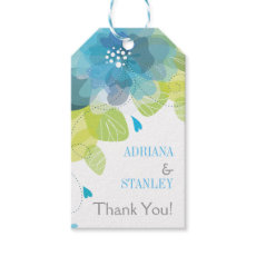 Aqua blue flowers floral spring wedding Thank You Pack Of Gift Tags