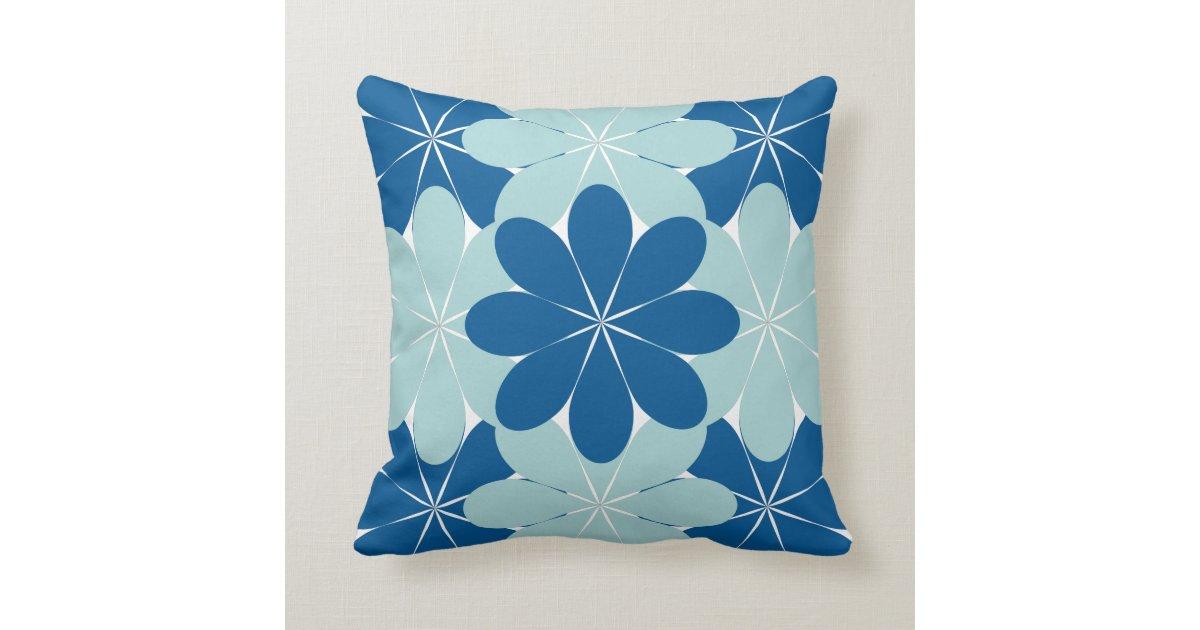 Aqua & Blue Flowers Square Decorative Throw Pillow Zazzle