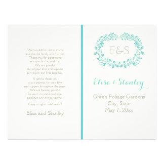 Aqua blue foliage frame folded wedding program