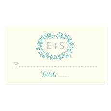 Aqua blue foliage frame wedding place card business card