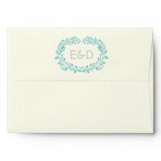 Aqua blue foliage frame with initials wedding envelopes