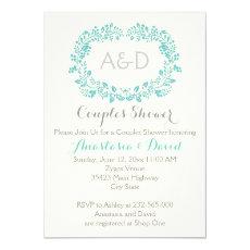 Aqua blue foliage initials wedding couples shower 5