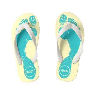 Aqua Blue Footprints Smiley-Toes™ Happy Sun Yellow Kid's Flip Flops