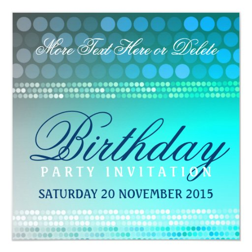 Aqua Blue Funky Dance Party Birthday Invitation