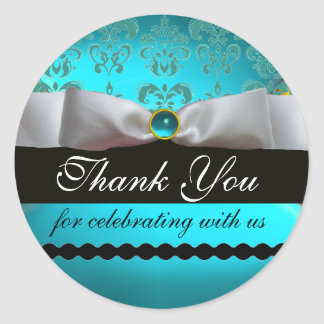 AQUA BLUE GEMSTONE ,WHITE DAMASK RIBBON Thank You Classic Round Sticker