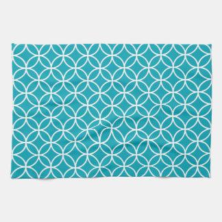 Aqua Blue Geometric Kitchen Towels
