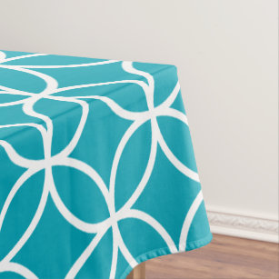 Aqua Blue Geometric Pattern Tablecloths