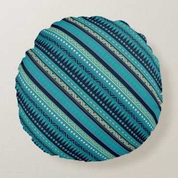 Aztec Themed Aqua Blue Geometric Tribal Stripes Pattern Round Pillow