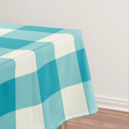 Aqua Blue Gingham / Buffalo Check Tablecloth