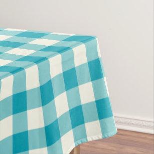 Merveilleux Aqua Blue Gingham Pattern Check Tablecloth