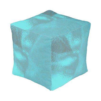 Aqua Blue Glass Cube Pouf