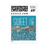 Aqua Blue Glitter and Ribbon Look Sweet 16 Postage Stamp