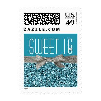 Aqua Blue Glitter and Ribbon Look Sweet 16 Postage Stamp