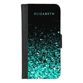Aqua Blue Glitter Black iPhone 8/7 Wallet Case