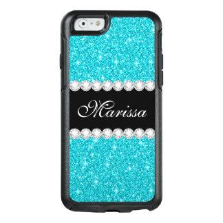 Aqua Blue Glitter Black Otterbox iPhone 6/6s Case