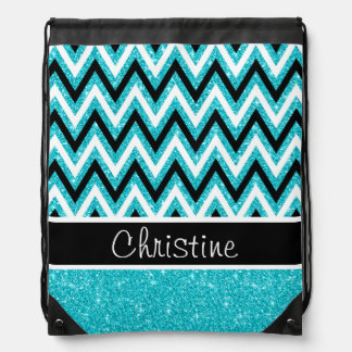 Aqua Blue Glitter Black White Chevron Backpack