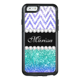 Aqua Blue Glitter Print Purple Ombre White Chevron OtterBox iPhone 6/6s Case