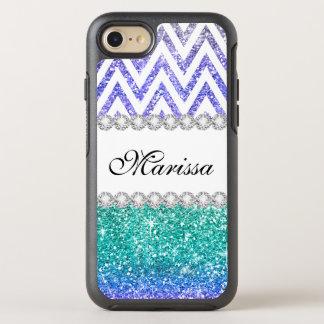 Aqua Blue Glitter Purple Ombre White Chevrons OtterBox Symmetry iPhone 8/7 Case