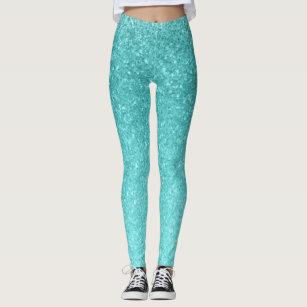 cb064b5083d5d Aqua Blue Glitter Sparkle Girly Glam Mermaid Leggings