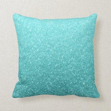 Aqua Aqua Blue Glitter Sparkle Girly Glam Mermaid Throw Pillow
