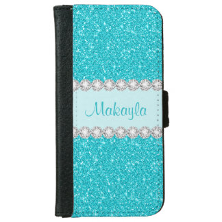 Aqua Blue Glitter Sparkles iPhone 6 Wallet Case