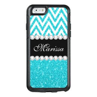 Aqua Blue Glitter Sparkles White Chevron Pattern OtterBox iPhone 6/6s Case