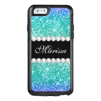 Aqua Blue Glitter Teal Ombre Stylish Black Otterbox Iphone 6/6s Case by girlygirlgraphics at Zazzle