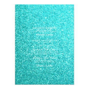 Beach Themed Aqua Blue Glitter with White Details Card