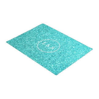 Aqua Blue Glitter with White Details Doormat