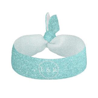 Aqua Blue Glitter with White Details Ribbon Hair Tie