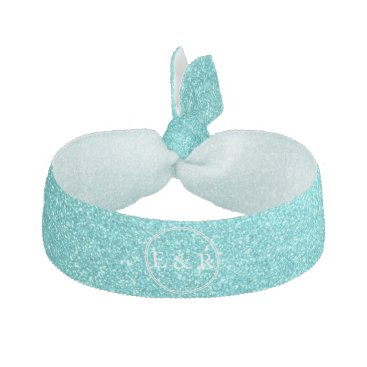 Beach Themed Aqua Blue Glitter with White Details Ribbon Hair Tie