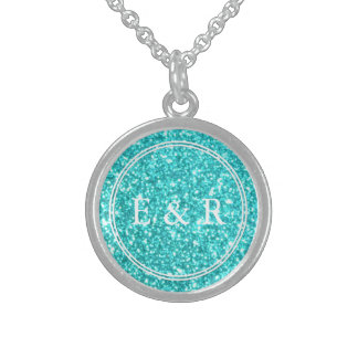 Aqua Blue Glitter with White Details Sterling Silver Necklace