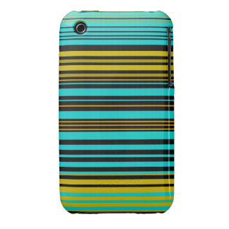 Aqua blue gold and black stripes iPhone 3 cover
