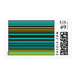 Aqua blue gold and black stripes stamp