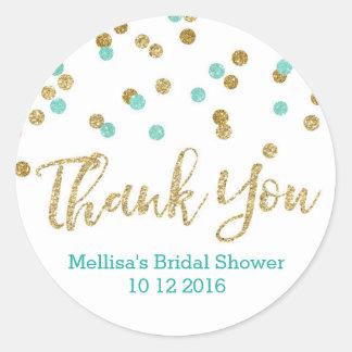 Aqua Blue Gold Confetti Bridal Shower Favor Tags