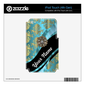 Aqua blue & gold damask faux crystal decal for iPod touch 4G