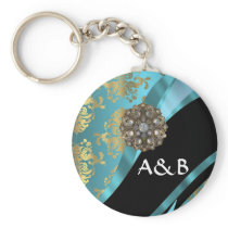 Aqua blue & gold damask faux crystal keychain