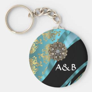 Aqua blue & gold damask faux crystal basic round button keychain