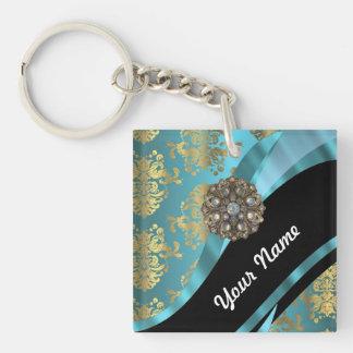 Aqua blue & gold damask faux crystal Single-Sided square acrylic keychain