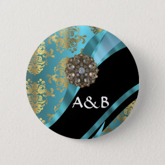 Aqua blue & gold damask faux crystal pinback button